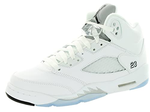 size 40 538ca e8026 Nike air Jordan Retro 5 (GS) hi top Trainers 440888 Sneakers Shoes (UK 5 US  5.5Y EU 38, White Black Metallic Silver 130)  Amazon.co.uk  Shoes   Bags