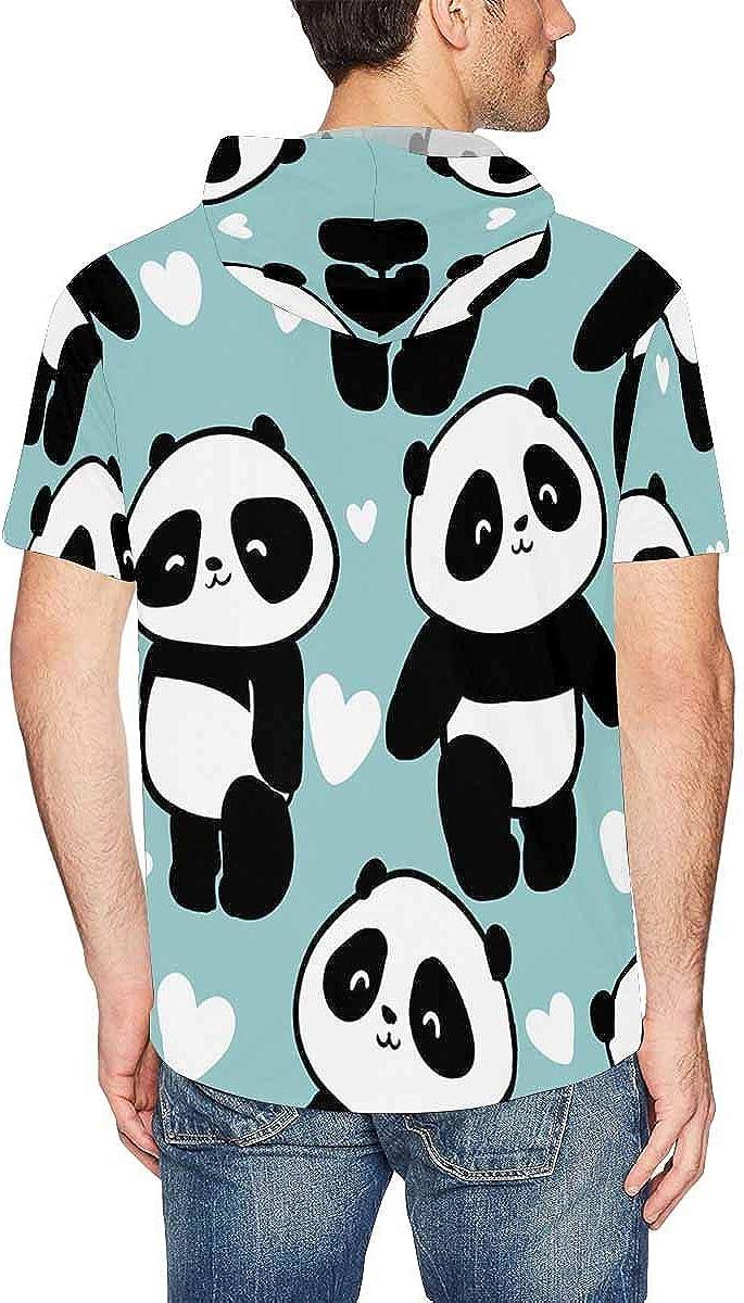 XS-2XL INTERESTPRINT Mens Hoodies Pullover Cute Panda Short Sleeve Lightweight Hooded Shirts