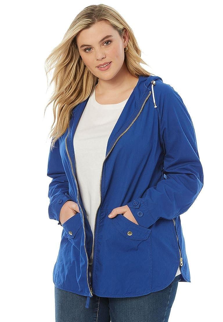 Women's Plus Size Hooded Anorak Jacket Roaman's Denim 24/7