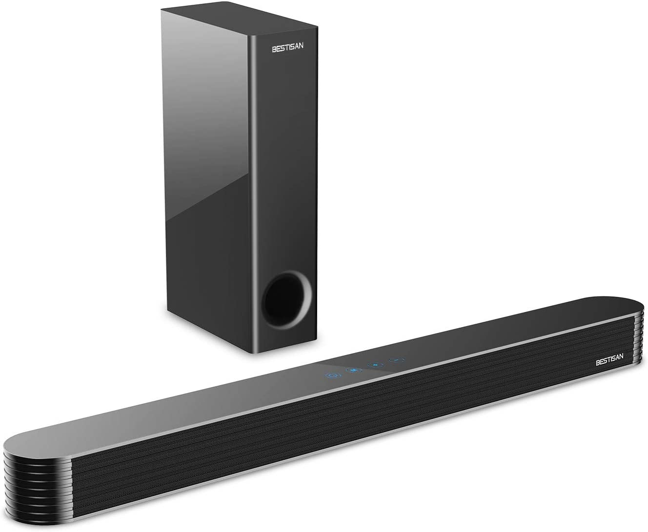 Sound Bar, BESTISAN TV Sound bar with Subwoofer, 120W 2.1CH Soundbar, Wired&Wireless Bluetooth 5.0 Speaker, Home Audio System for TV, 27 Inch, Wall Mountable, Treble/bass Adjustable, Optical/Aux/USB