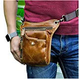 Le'aokuu Mens Genuine Leather Motorcycle Waist Pack Messenger Shoulder Drop Leg Bag (211-5 Light Brown 3)