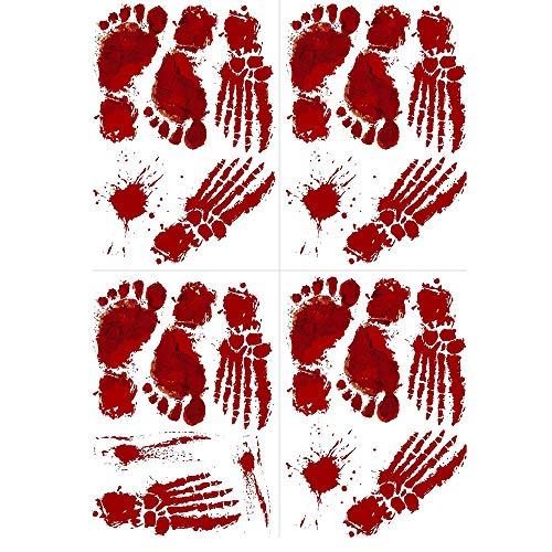 Tronet 4 PCS Bloody Halloween Footprints Floor - Vampire Zombie Party Handprint Decals Decorations -