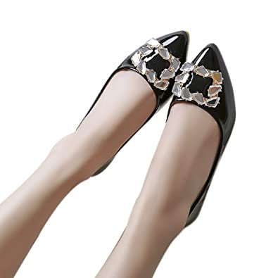 37f4fd5c313d00 Image Unavailable. Image not available for. Color  Popoye Women s Pointed  Toe PU Leather Ballet Slip On Boat Rhinestone Flat Shoes Black ...