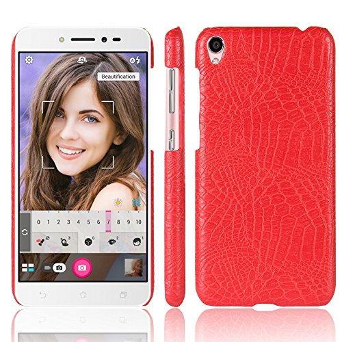 YHUISEN Patrón de piel de cocodrilo clásico de lujo [ultra delgado] cuero de la PU anti-rascar la cubierta protectora de la caja dura de la PC para Asus Zenfone Live ZB501KL ( Color : White ) Red