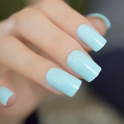 EchiQ - Pegatinas de uñas postizas de color verde claro con esmalte de uñas postizas de
