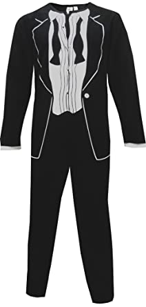 1970's After Party Black Tuxedo Onesie Pajama for men (X-Large)
