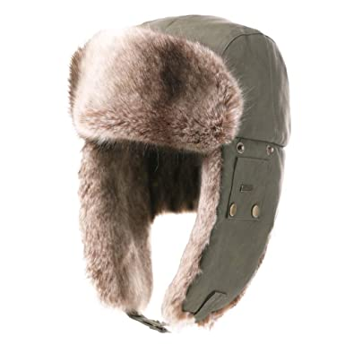 c087d003 Unisex Faux Leather Bomber Trapper Mens Winter Warm Fur Earflaps Russian  Ushanka Cotton Cold Weather Tooper