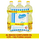 Purna Al Massa Sunflower Oil 1Ltr 1 x 3 Liters + 1kg Sugar (Pack of 4)
