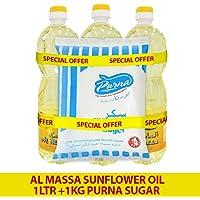 Purna Al Massa Sunflower Oil 1Ltr 1 x 3 Liters + 1kg Sugar (Pack of 4)