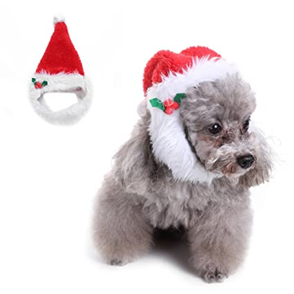 Per Pet Christmas Hat Fluffy Warm With Pompom Ball And Beard Santa Claus Costume For
