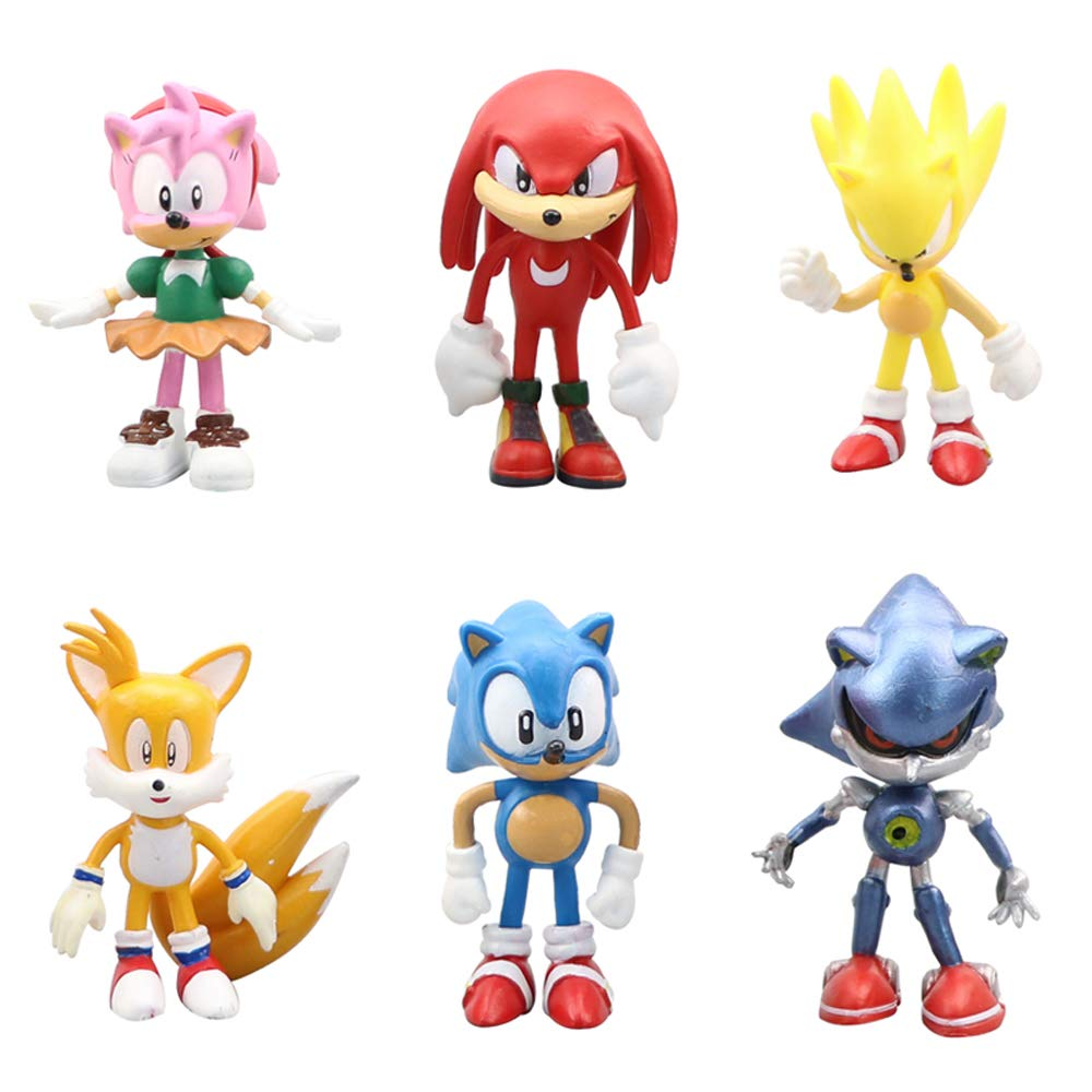 Knuckles Amy and The Evil Dr.Eggman, Cake Toppers , Childrens Gifts 2-3 inch Tails Gumair Set of 6pcs Sonic The Hedgehog Action Figures Sonic