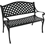 Sunnydaze Outdoor Patio Bench - Black Checkered Design - Durable Cast Aluminum Metal - 2-Person Seating - Outdoor Garden…