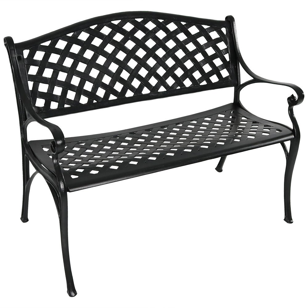 Sunnydaze Black Checkered Outdoor Patio Bench, Durable Cast Aluminum Metal, 2-Person Seating Sunnydaze Decor