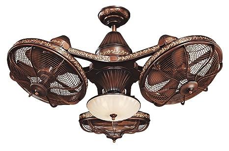 "38"" Esquire Rich Bronze Finish 3-Head Ceiling Fan - 38"