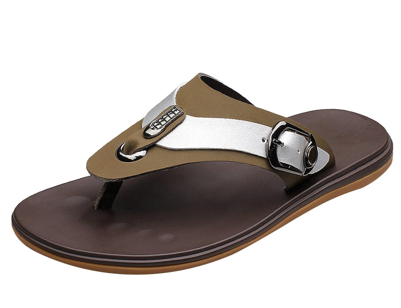 Chickle Men's Crasy Horse Leather Flip Flop Sandal