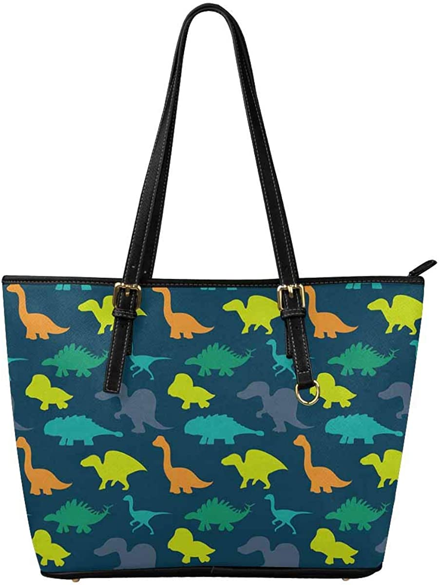 InterestPrint Womens Tote Bags PU Leather Work School Travel and Shopping Dinosaurs
