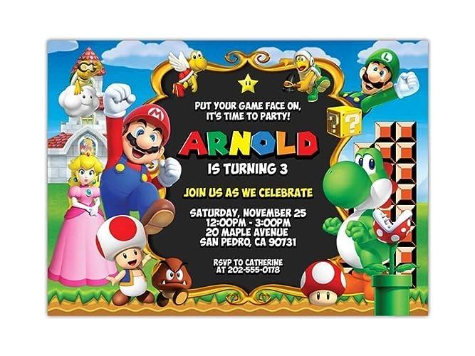 Amazon Com Custom Super Mario Birthday Party Invitations For Kids