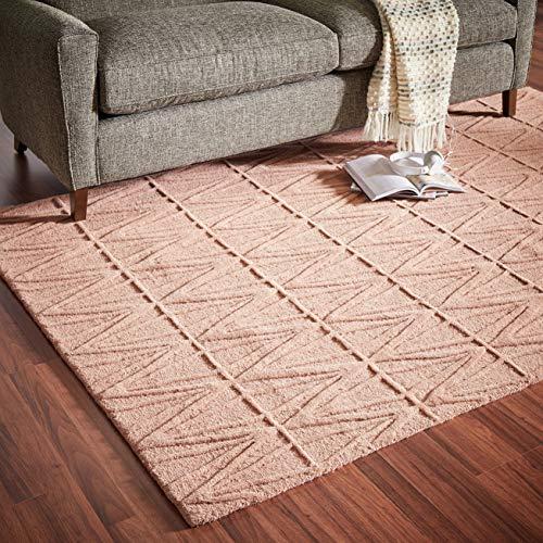 Rivet Sunset Textured Geo Pattern Wool Area Rug, 4' x 6', Pink ()