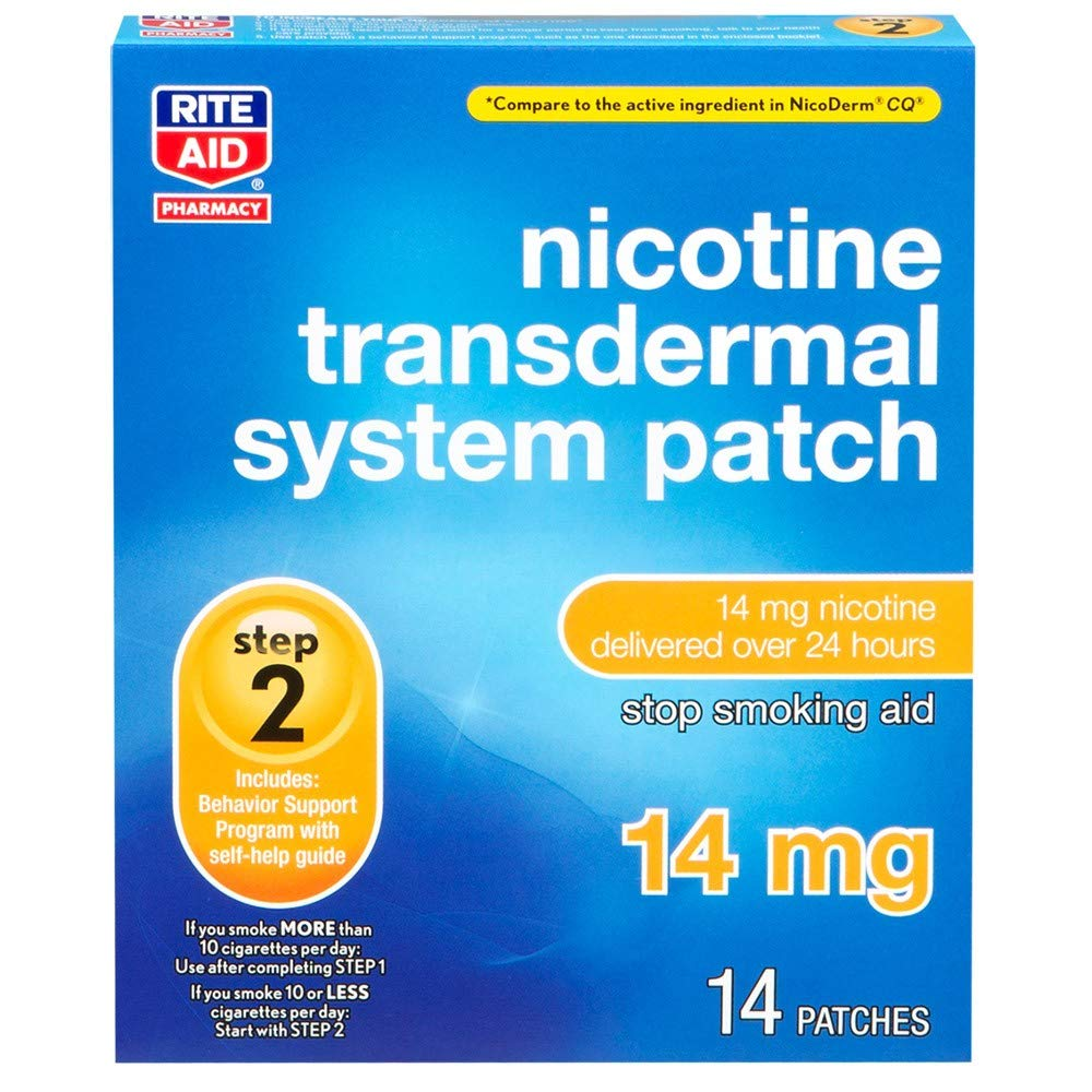 Rite Aid Nicotine Transdermal System Patch, Step 2, 14 mg - 14 Count | Quit Smoking Patches by Rite Aid