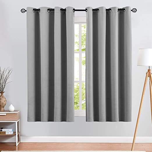 Amazon Com Vangao Room Darkening Curtains 63 Inches Length Gray Window Treatment Triple Weave Blackout Drapes For Bedroom Grommet Top 2 Panels Grey Kitchen Dining