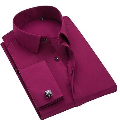 9da4dae43b3 sweattang New Mens Formal Dress Italian Designer Luxury with Cufflinks  Dress Shirts (Red