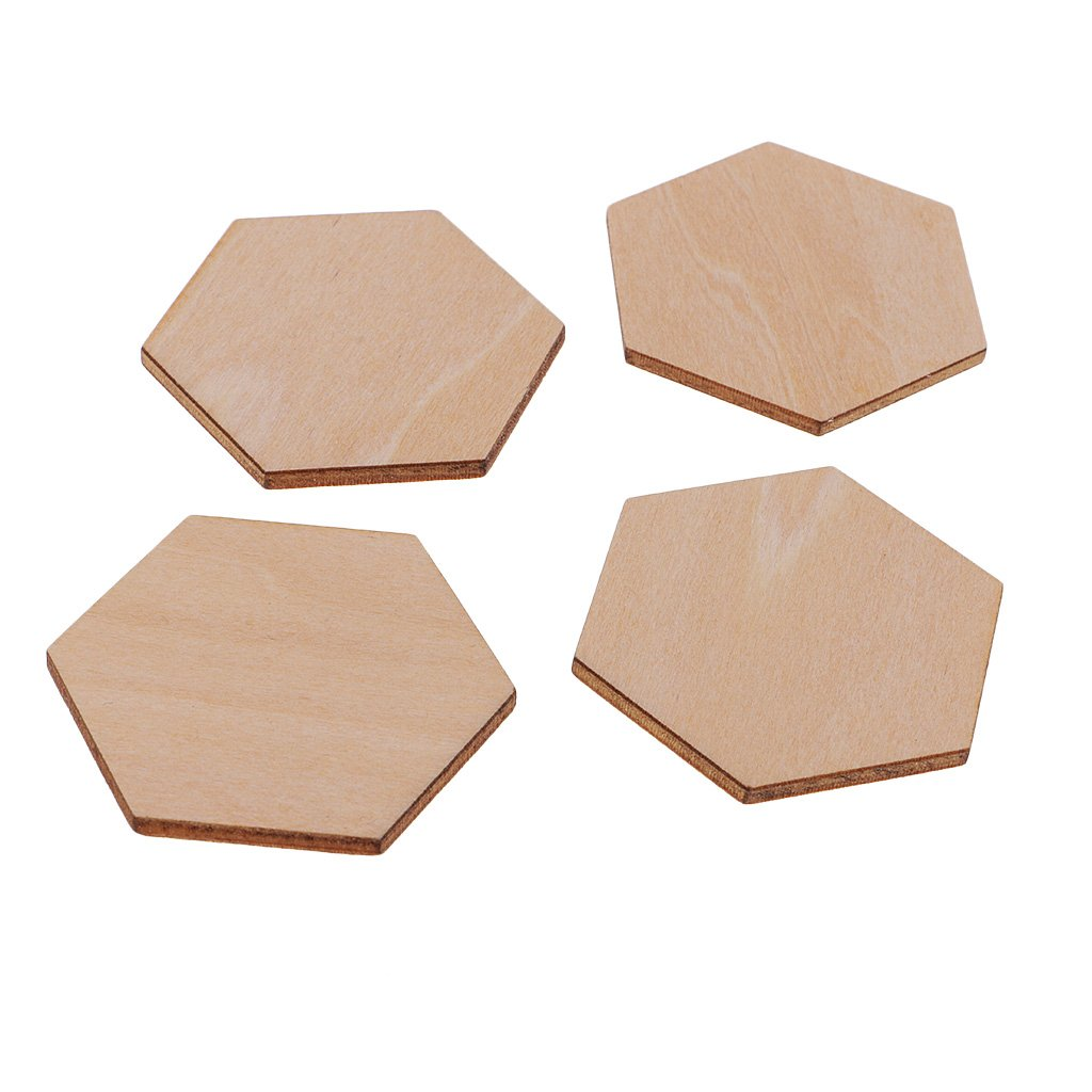 Baoblaze 50//100//200 Pieces Charming Hexagon Shaped MDF Wood Cut Wooden Embellishment DIY Craft Shapes for Crafting 50pcs 40mm 2mm Thick Scrapbooking Sewing and Decorating Unfinished