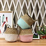 Blue Stones 1Pc Seagrass Belly Basket, Laundry Basket, 2219cm, Folding Flower Pot, Sea Grass Storage Hanging, Vase, Home, Garden, Planter, Dirty Clothes Organization, Pink, White, Mint Green