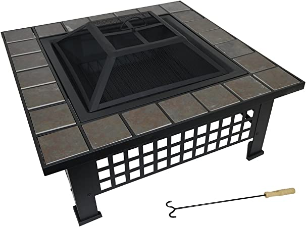 Tamaño grande negro para exteriores diseño de mosaico Fire Pit ...