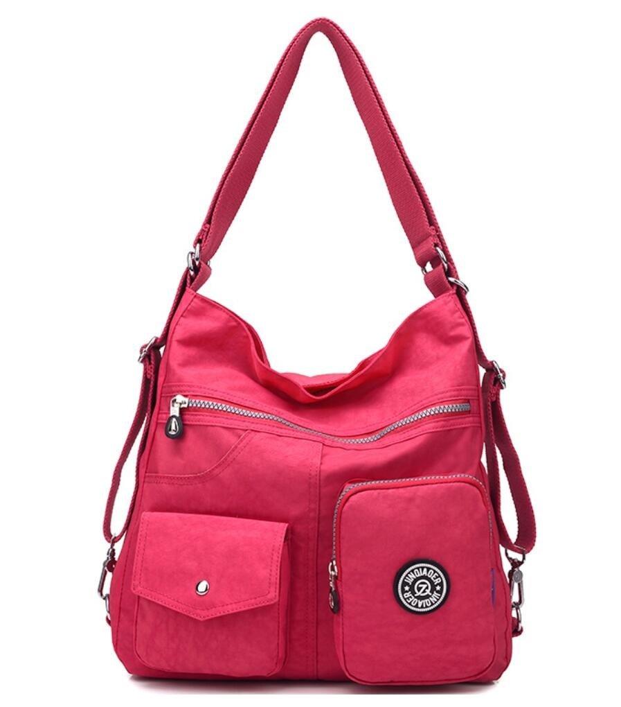 Multipurpose Water-resistant Nylon Shoulder Bag Top Handle Handbag Fashion Travel Backpack Purse for Women (Fuchsia)