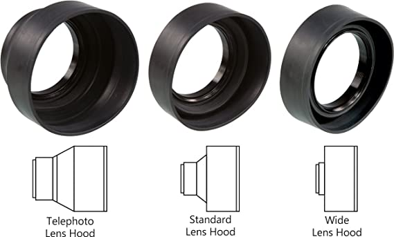 Sonia 3 in 1 Rubber Lens Hood   55 mm   for Canon Nikon Sony Olympus Pentax and All Digital SLR Cameras Lens Hoods