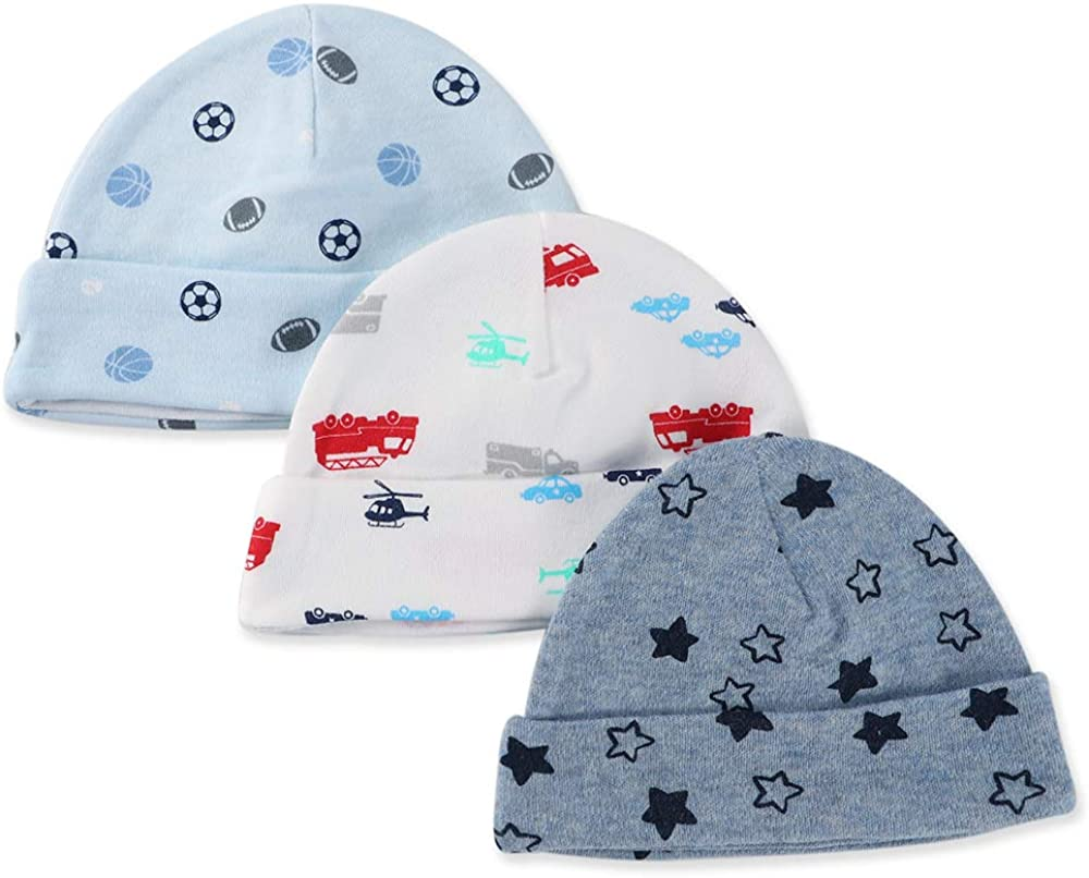 LACOFIA Newborn Baby Boys Girls Cotton Printed Beanie Hat Unisex Infant Essential Cap Pack 3