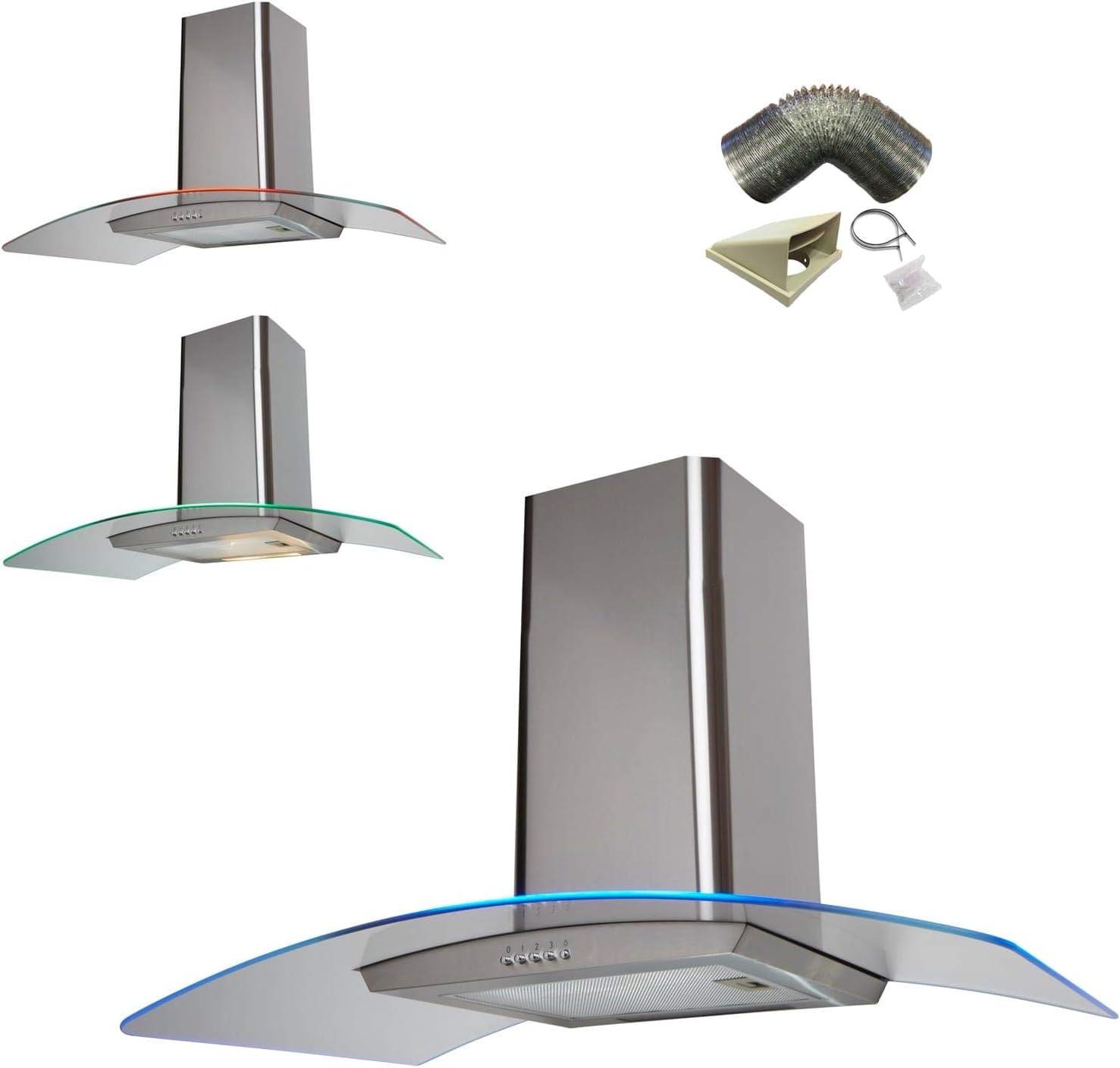 Sia 100 cm 3 Color LED ST/ventilador Extractor de campana de acero + 3 M juego de conductos: Amazon.es: Grandes electrodomésticos
