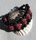 Natural Red Coral & Black Onyx Gemstone Cuff Bracelet