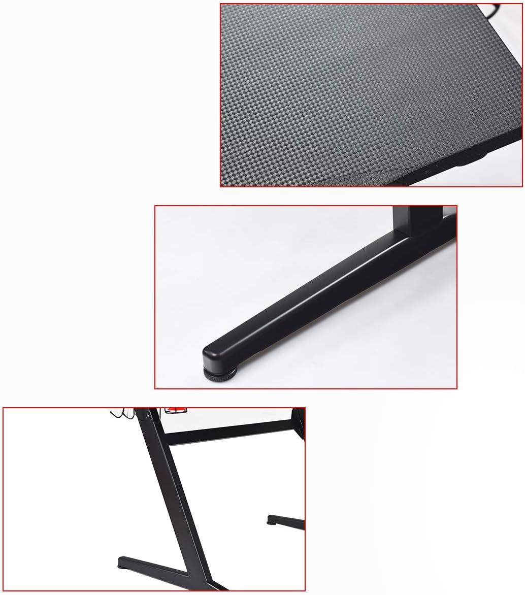 Computertisch Schreibtisch aus Holz sowie Stahl Laptoptisch mit Zubeh/ör DREAMADE Gaming-Tisch Schwarz