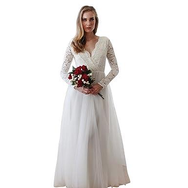Blush Fashion Bridal Floral Lace Maxi Dress, Ivory Tulle Long Sleeve ...