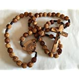 "X-Large Carved Olive Wood Beads Bethlehem Heart Wall Rosary 33"" long"