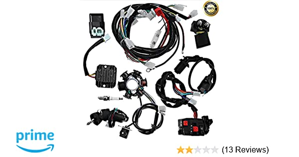 Complete electrics all wiring harness wire loom assembly for GY6 4-Stroke  Engine Type 125cc 150cc Pit Bike Scooter ATV Quad