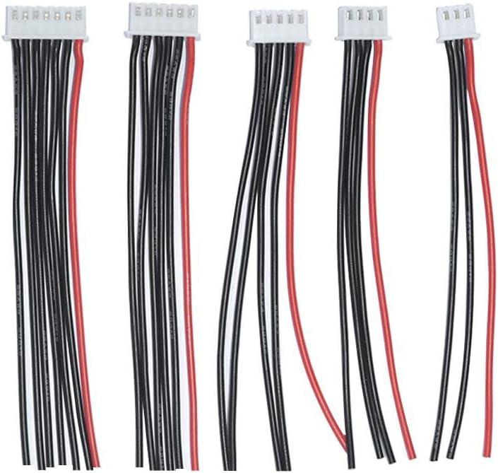 FLY RC 2S-6S Balance Cargador Cable de Silicona Cable JST XH Conector Adaptador Enchufe (10pcs 2s-6s (Cada 2pcs))