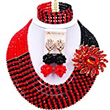 laanc Jewellery 8 Rows Red and Multicolor Gradient Crystal African Beads Nigerian Wedding Jewelry Sets