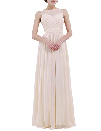 iiniim Women Ladies Sleeveless Lace Tulle Wedding Bridesmaid Dress Long Evening Prom Dresses Apricot UK Size