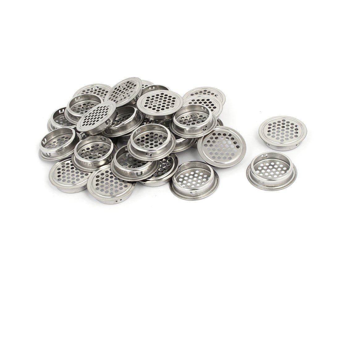 uxcell 35mm Bottom Dia Stainless Steel Round Shaped Mesh Hole Air Vent Louver 30pcs