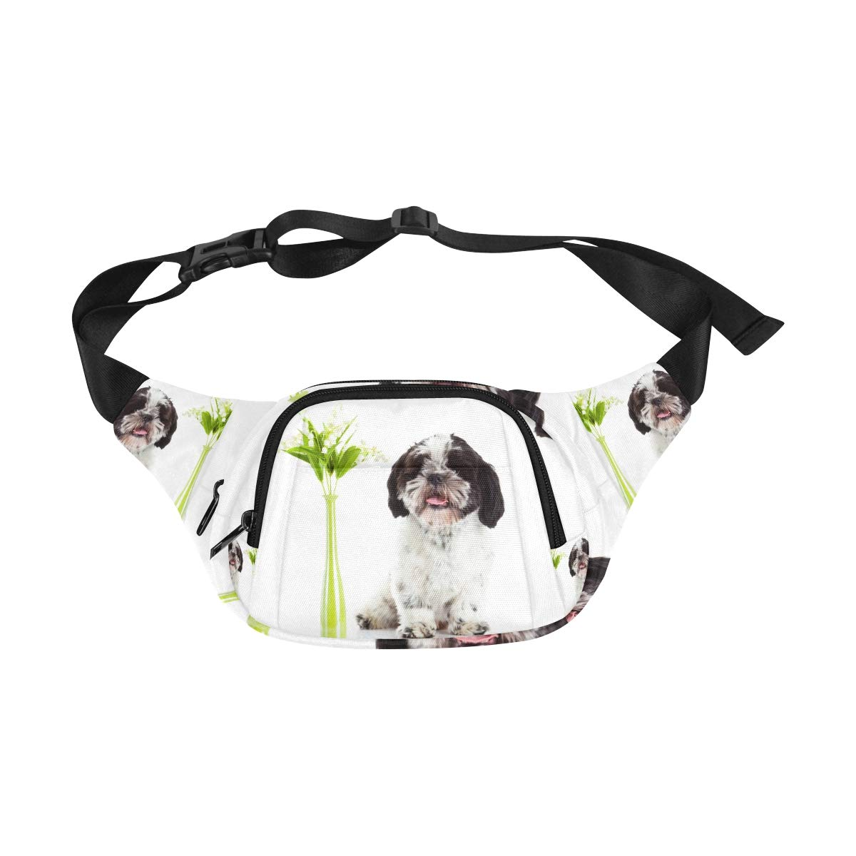 Lovely Dog And Tulip Bunch In Vase Fenny Packs Waist Bags Adjustable Belt Waterproof Nylon Travel Running Sport Vacation Party For Men Women Boys Girls Kids