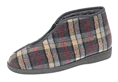 4cf2dd2a32b Mens Grey Check Velour Thermal Fleecy Lining Zip Front Bootee Slipper - Jed  II - Grey