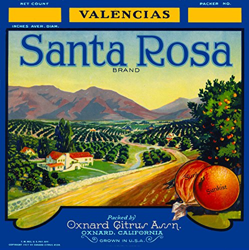 A SLICE IN TIME Oxnard, Ventura County Santa Rosa Orange Citrus Fruit Crate Box Label Art Print