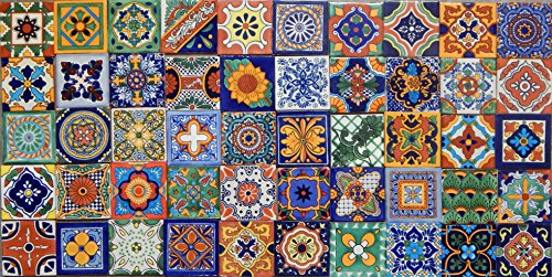(50 Hand Painted Talavera Mexican Tiles 4x4 Spanish Mediterranean)