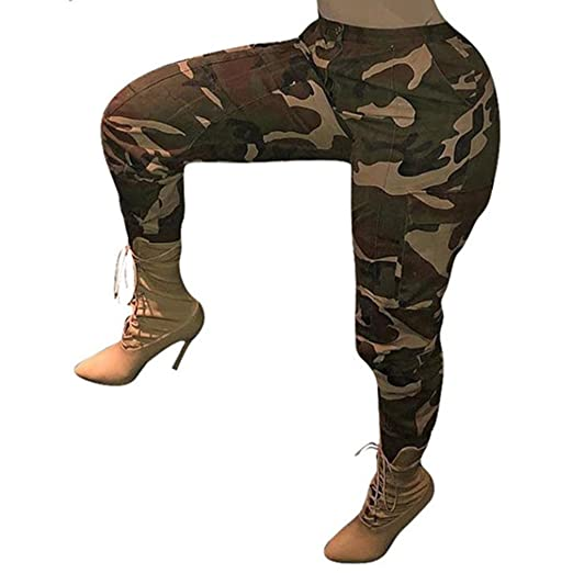 46d2eb02949 Image Unavailable. Image not available for. Color  Women Camo Trouser  Jogger Pants Plus Size Casual Cargo ...