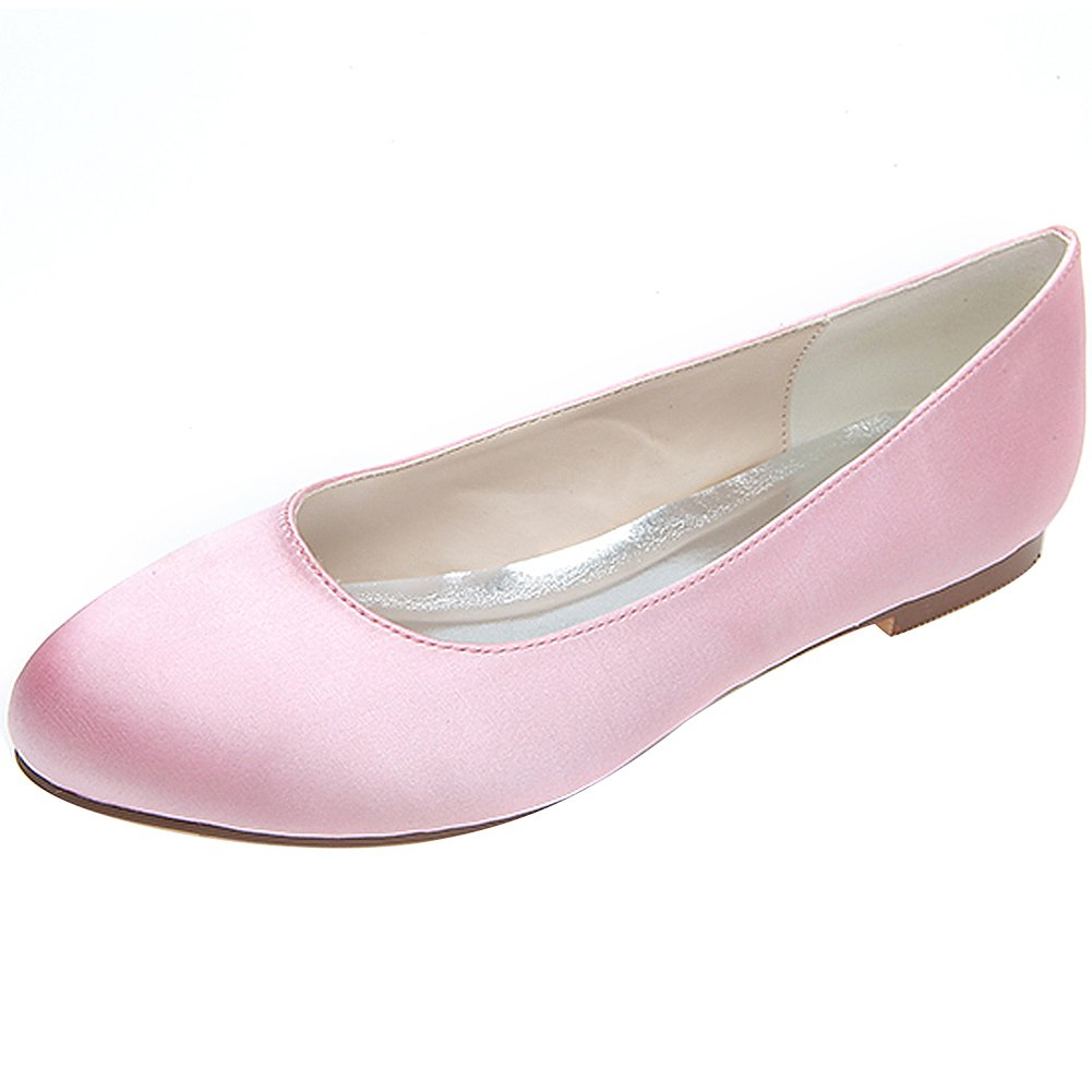 Loslandifen Women's Satin Flats Elegant Round Toe Wedding Ballet Bridal Shoes(9872-0138,Pink Satin)