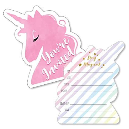 Rainbow Unicorn Shaped Fill In Invitations Magical Unicorn Baby Shower Or Birthday Party Invitation Cards With Envelopes Set Of 12
