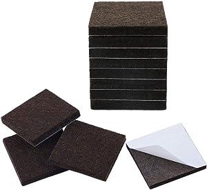 "uxcell 12pcs Furniture Pads Square 1 1/2"" Self-stick Non-slip Anti-scratch Felt Pads Floors Protector Dark Brown"
