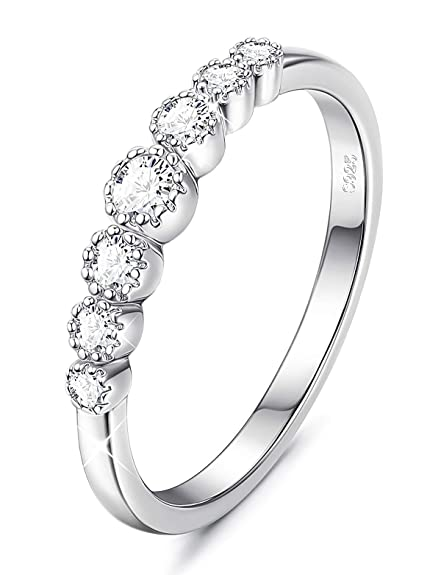 6d55e0d33 Sllaiss 925 Sterling Silver Ring for Women Girls Sets with Swarovski  Zirconia Eternity Engagement Wedding Band
